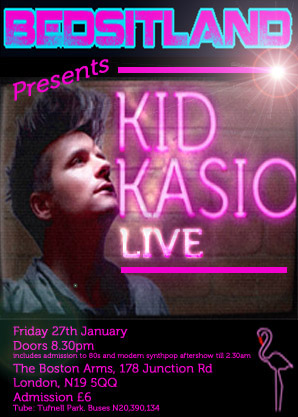 Image of the flyer for the Kid Kasio Bedsitland show